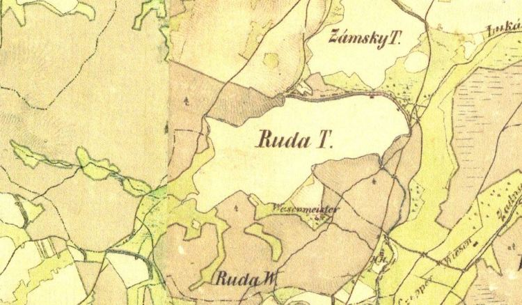 Pohodnice, Ruda u Kojákovic. Františkovo vojenské mapování, 1836–1852, list O-16-IV