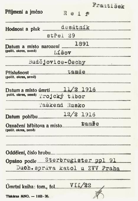 """VHÚ Praha, lístek """"bílé"""" kartotéky padlých a nezvěstných v první světové válce. VÚA Praha, 2015"""