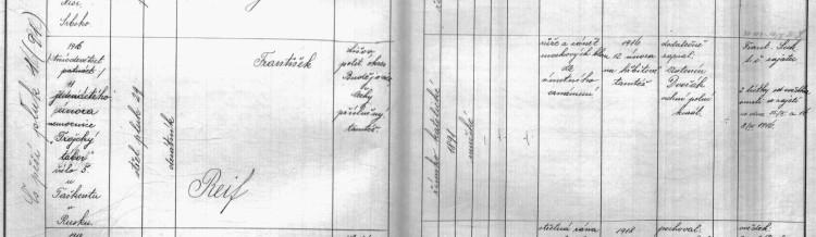 VÚA Praha, Vojenské matriky, matriky pěšího pluku 1 a předchůdců, Kniha zemřelých 1914-1922 čs. pěšího pluku č. 1 (dříve pěší pluk č. 91 a střel. 29), sv. VII, fol. 22