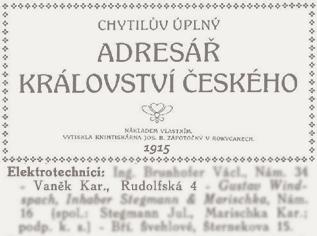 Zdroj: Chytilův úplný adresář království Českého, 1915. Královské město České Budějovice I, s. 127
