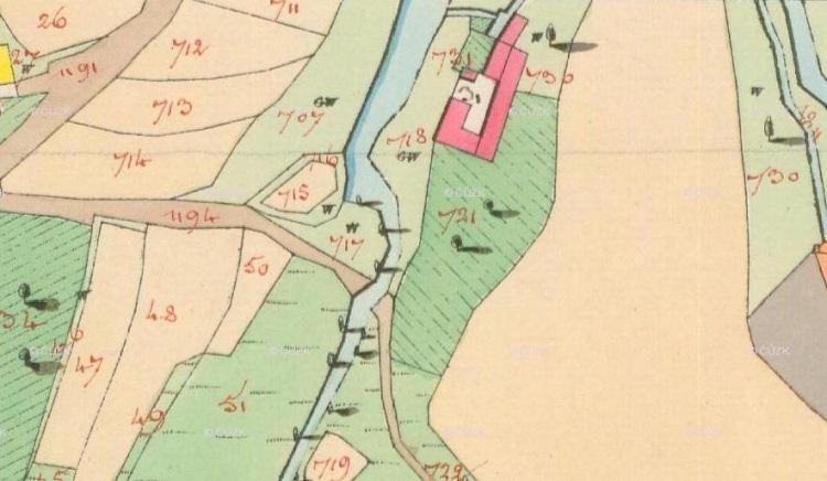 Doležalův mlýn, Dírná. Povinné císařské otisky stabilního katastru, sign. 9150-1