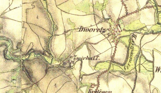 Mlýn u rybníka Zmrhalu. Františkovo vojenské mapování, 1836–1852, list O-14-IV