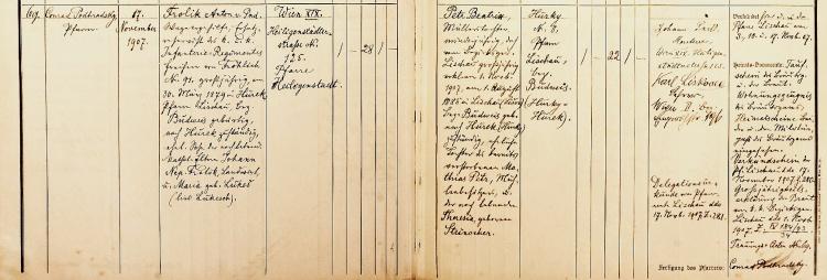 Matriční zápis sňatku, Wien XIX, Heiligenstadt, matrika z let 1907–1912, fol. 18