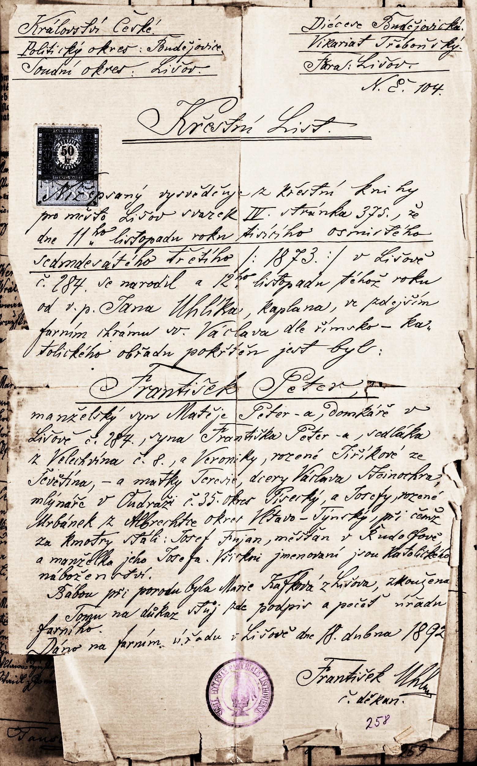 Křestní list Františka Petra