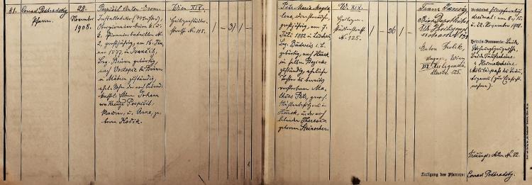 Matriční zápis sňatku, Wien XIX, Heiligenstadt, matrika z let 1907–1912, fol. 66