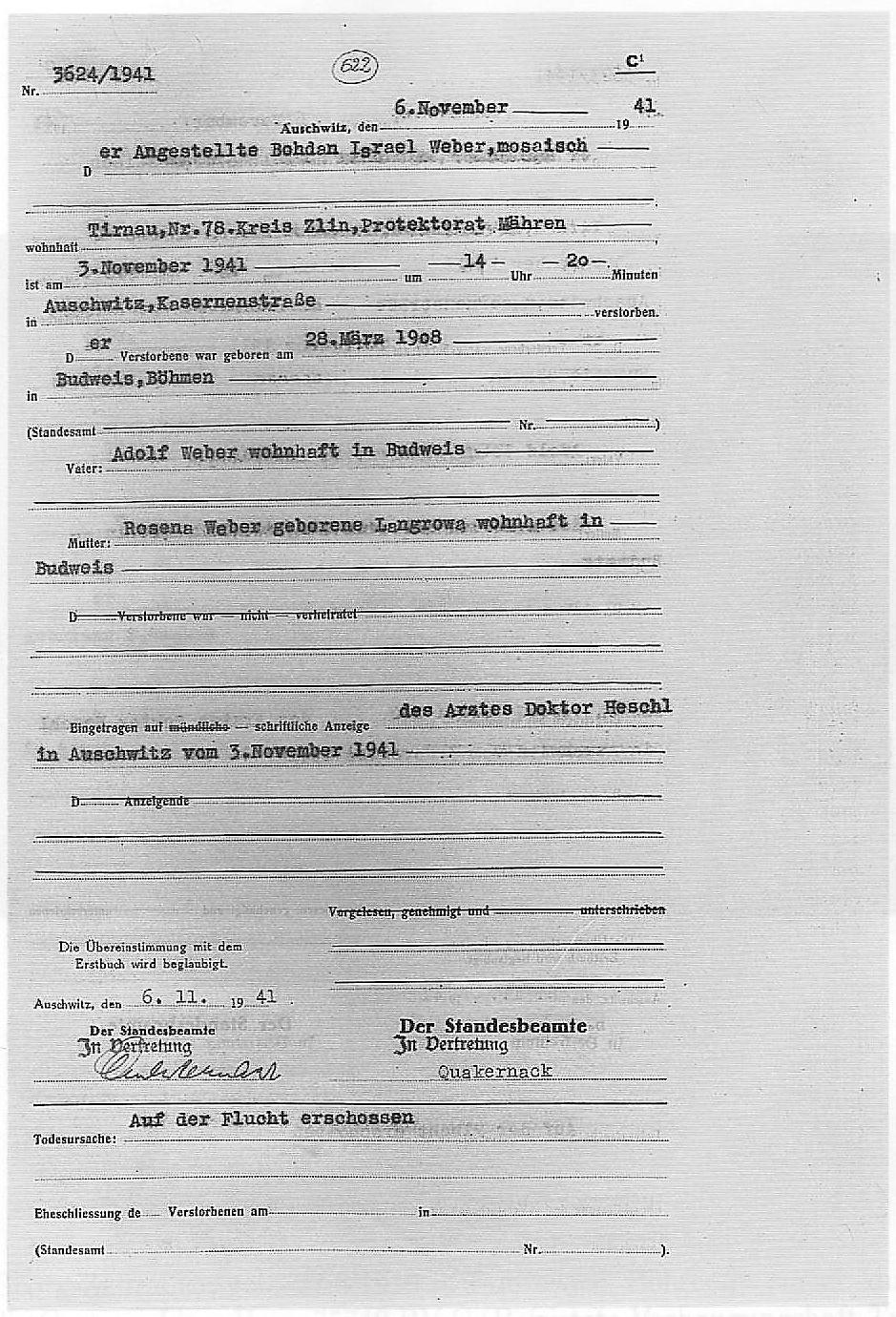 Úmrtní list Bohdana Webera — zastřelen na útěku (Auschwitz, 6.11.1941, auf dem Flucht erschossen)