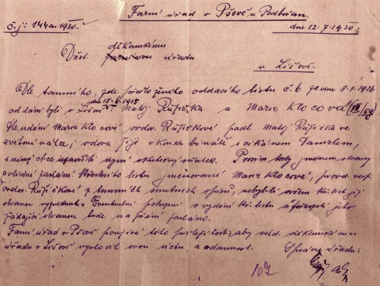 Přípis farního úřadu v Pšově ze 12. července 1930