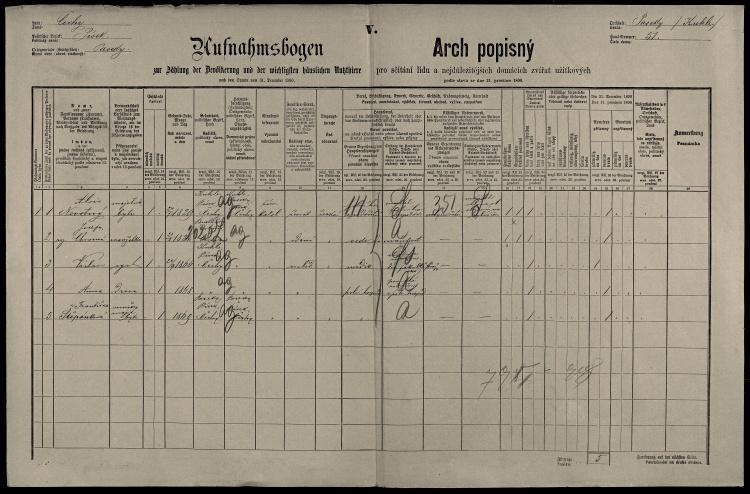 © SOkA v Písku, fond Okresní úřad Písek I, 1850–1945, sčítání lidu 1890, soudní okres Písek, lokalita Kukle, sn. 10