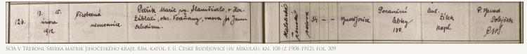 (SOA v Třeboni, Sbírka matrik Jihočeského kraje, řím.-katol. f. ú. České Budějovice (sv. Mikuláš), kn. 108 (Z 1908-1912), fol. 309)