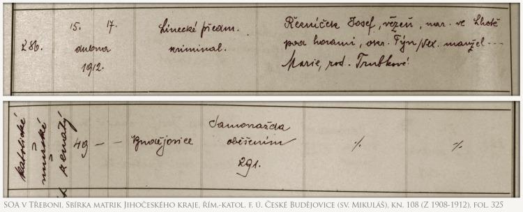 (SOA v Třeboni, Sbírka matrik Jihočeského kraje, řím.-katol. f. ú. České Budějovice (sv. Mikuláš), kn. 108 (Z 1908-1912), fol. 325)