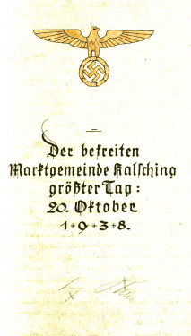 SOkA Český Krumlov, Archiv městečka Chvalšiny, Pamětní kniha Chvalšiny, pamětní zápis z návštěvy Adolfa Hitlera z 20. října 1938