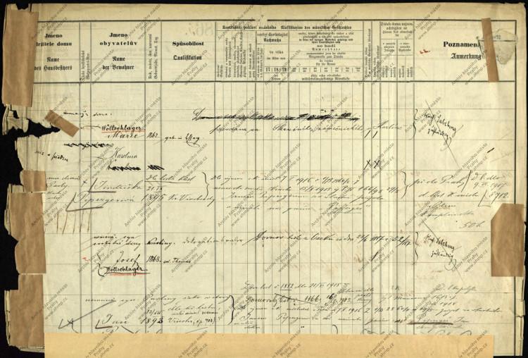 AHMP, Soupis pražských domovských příslušníků 1830-1910 (1920), krabice č. 888, poř. č. 88, další strana