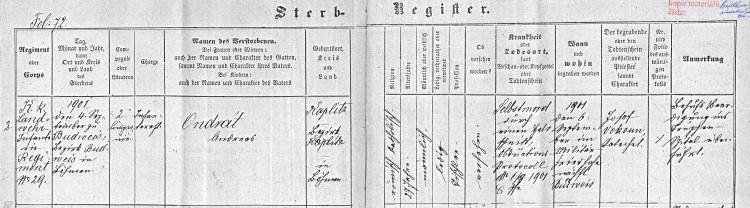 Vojenský ústřední archiv v Praze, matrika zemřelých, posádková nemocnice České Budějovice, kn. 1, fol. 72
