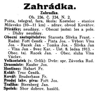 Chytilův úplný adresář království českého, okres Milevsko, 1915