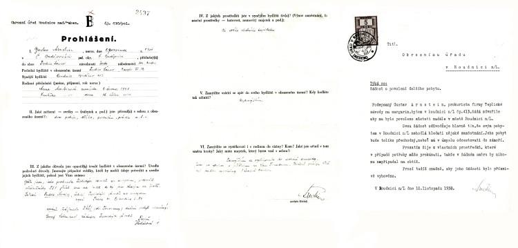 Prohlášení emigranta z obsazených území, žádost o povolení dalšího pobytu v Roudnici nad Labem, 10.11.1938 (NA ČR, fond Policejní ředitelství v Praze, 1941-1950, sign. A540/2)