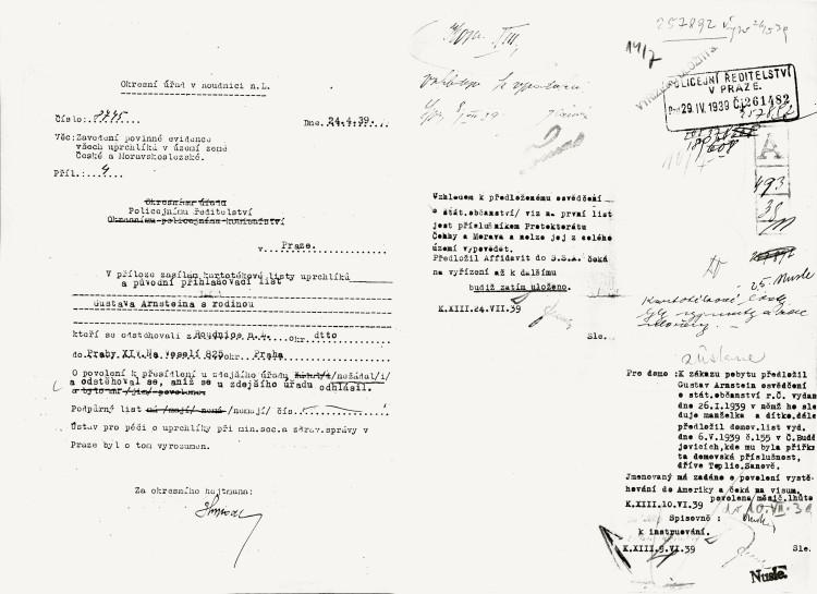 Kartotéka uprchlíků na území Čech, Moravy a Slezska, 24.4.1939 (NA ČR, fond Policejní ředitelství v Praze, 1941-50, sign. A540/2)