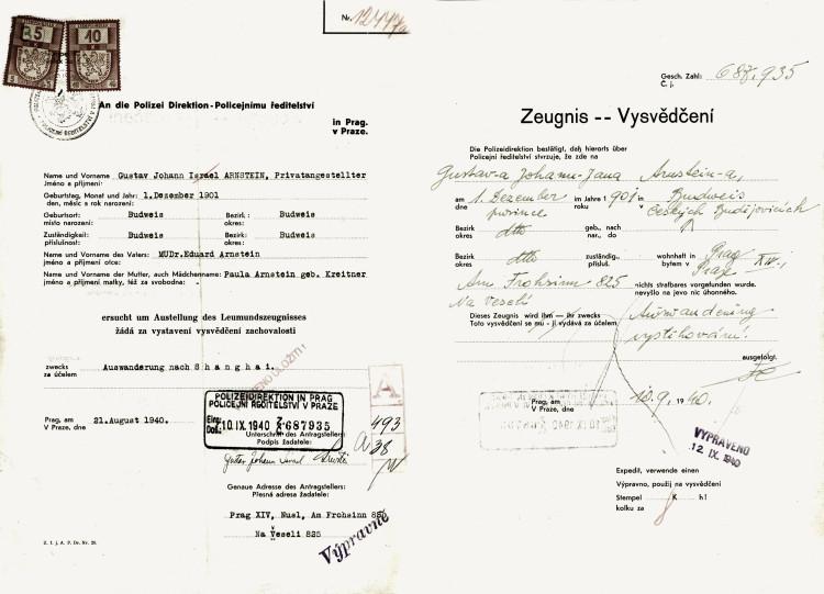 Žádanka o vysvědčení zachovalosti za účelem vycestování do Šnaghaje, 10.9.1940 (NA ČR, fond Policejní ředitelství v Praze, 1941-1950, sign. A540/2)