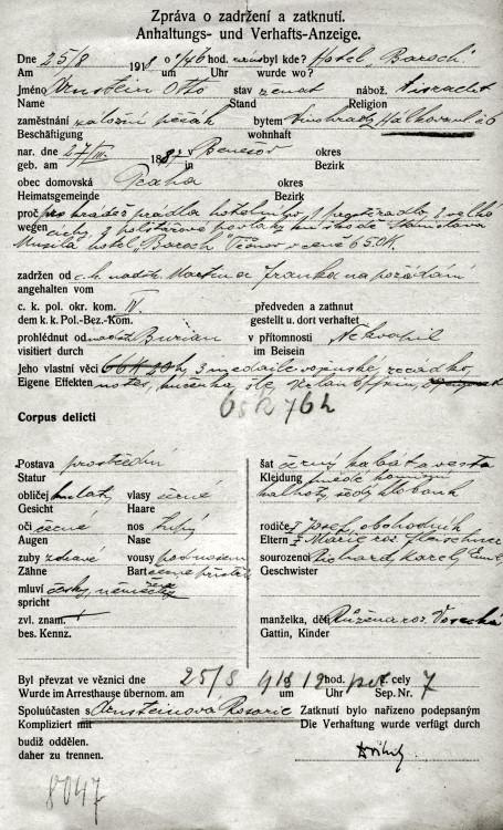 Zpráva o zadržení a zatknutí pro krádež hotelového prádla (25.8.1918, Hotel Baroch) NA ČR, Policejní ředitelství v Praze, 1931-1940, sign. A491/10
