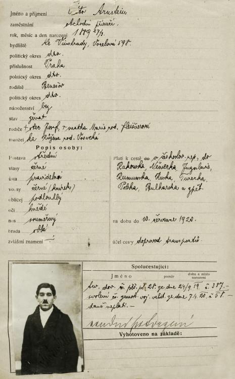 Výkaz o cestovním pasu Otty Arnsteina, 10.1.1920 (NA ČR, fond Policejní ředitelství v Praze, 1931-1940, sign. A491/10