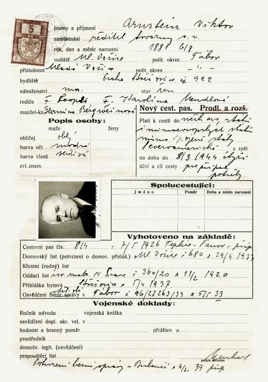 Tiskopis na žádost o cestovní pas, 8.3.1939 (NA ČR, fond Policejní ředitelství v Praze, 1931-40, sign. A493/30)