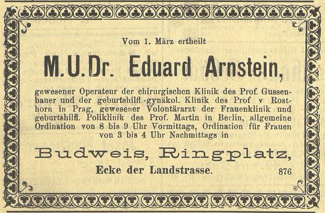 Annonce v periodiku Budweiser Zeitung, roč. 34/1895, č. 18, str. 11