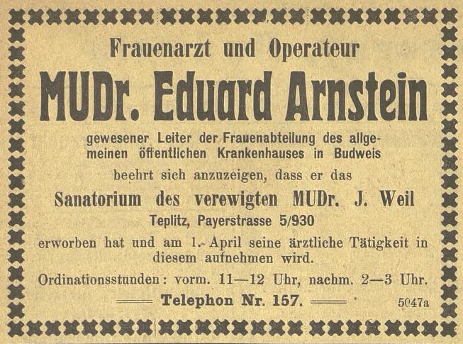Annonce v periodiku Budweiser Zeitung, roč. 45/1906, č. 41,str. 16