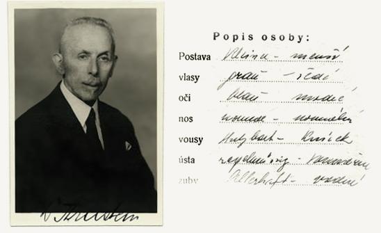 NA ČR, fond Policejní ředitelství v Praze, 1941-1950, sign. A540/8 (Tiskopis na žádost o všeobecnou občanskou legitimaci č. 6736a, 30. října 1939)