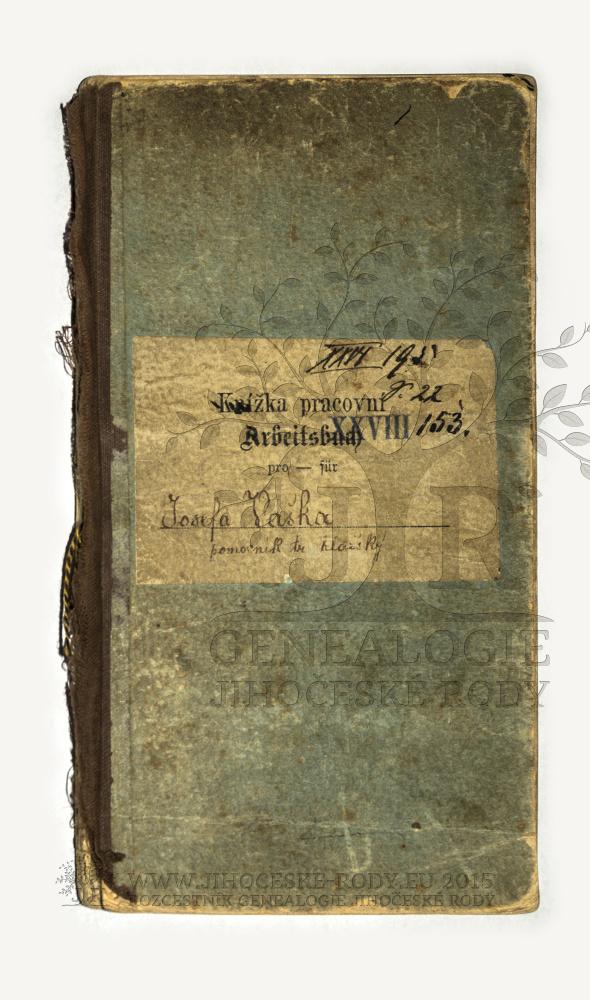 Pracovní knížka Josefa Vaška, vydaná ve Svojšicích, Kleticích 20. srpna 1900