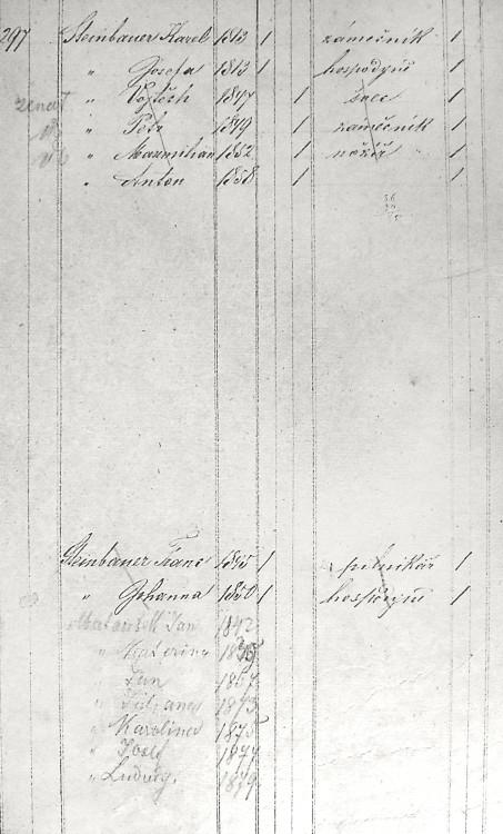 SOkA České Budějovice, AM Trhové Sviny, domovská matrika 1870, list pro dům č.p. 297