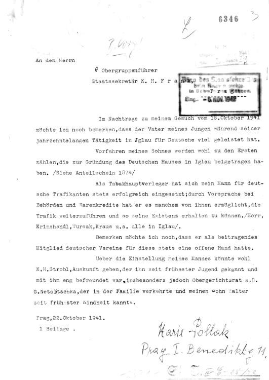Žádost M. Pollakové o zařazení jejího syna W. Pollaka mezi židovské míšence, 1942–1943. NA ČR, fond Státní tajemník u říšského protektora v Čechách a na Moravě, inv. č. 1234, karton 54