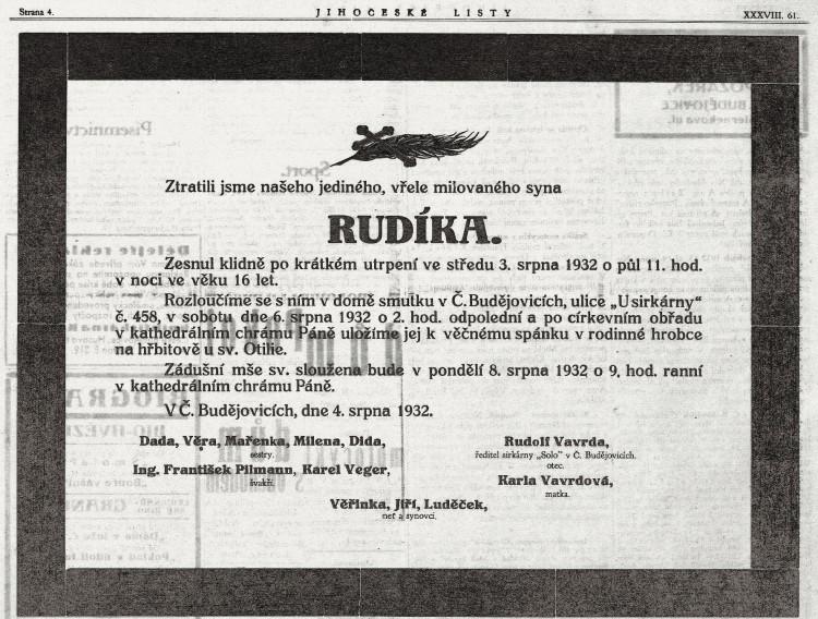Jihočeské listy, roč. 38/1932, č. 61 (6.8.1932), s. 4